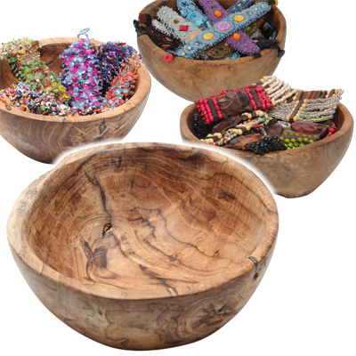 Natural teak wood bowls