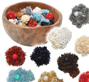 Indonesian woven seed bead and sequin flower stretch adjustable rings