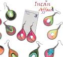Neon Peruvian thread wrapped tear drop design earrings