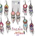 Neon Peruvian thread wrapped tear drop with dangle bead earrings