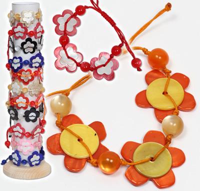 Doubled capiz shell flower adjustable bracelets.