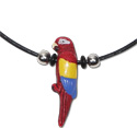 Beaded leather necklaces with ceramic parrot pendants