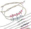 Dolphin bead and cat's eye bead, white string wishlet good fortune bracelet