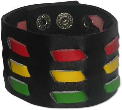 Rasta colored woman's snap shut bracelet