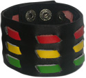 Rasta colored woman's snap shut bracelet