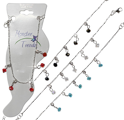 CZ anklet with crystal bead drops