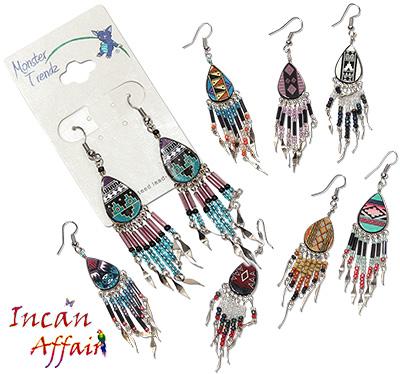 Peruvian painted ceramic beaded earrings