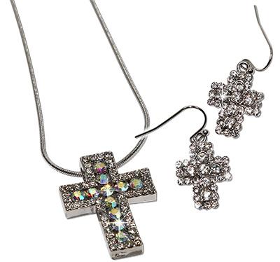 Square crystal rhinestoned cross