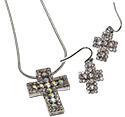 Square crystal rhinestoned cross