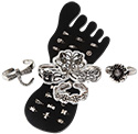 Sterling Silver toe rings in Flower Garden floral, butterfly and dragonfly