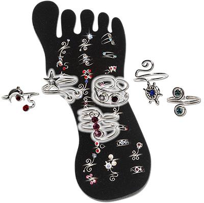 Sterling Silver toe rings in crystal designs
