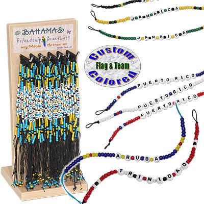 Custom glass beaded name drop friendship bracelets