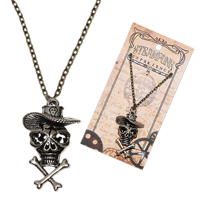 Steampunk pirate skull pendant on antique brass chain necklace