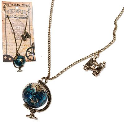 Steampunk globe and binocular pendant on chain necklace