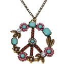 Antique brass vintage peace symbol necklace