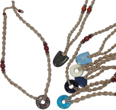 Semi-precious stone pendant on hemp necklace