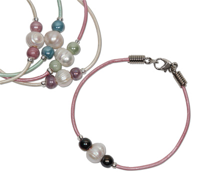 pearl beads with ceramic accents leather bracelet