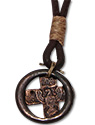 Urban Bohemian distressed leather necklace with crossn pendant