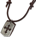 Urban Bohemian distressed leather necklace with cross tag pendant