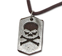 Urban Bohemian distressed leather necklace with skull and crossbones pendant
