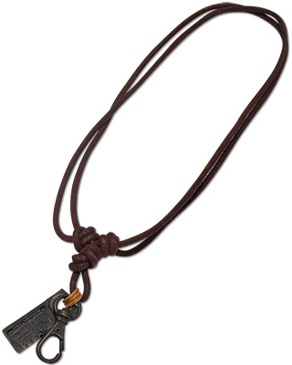 Urban Bohemian distressed leather necklace with zipper pull pendant.