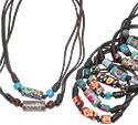 Fimo beads on adjustable slip knot black waxed linen cord