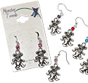 Tropical Rose Pewter Dancing Bear Earrings