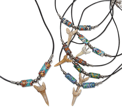 Tropical Rose Old School Fimo beaded shark tooth necklace