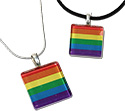 Tropical Rose Gay Pride Rainbow Flag Glass Pendant Necklaces