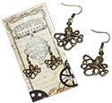 Tropical Rose Steampunk Kraken Octopus earrings