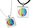 Tropical Rose Rainbow Equal Rights Gay Pride Pendant Necklaces