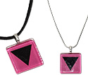 Tropical Rose Black Triangle Lesbian Symbol Glass Pendant Necklaces