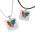 Tropical Rose Rainbow Triangle Infinity Glass Pendant Necklaces
