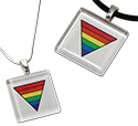 Tropical Rose Rainbow Triangle Glass Pendant Necklaces