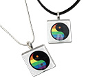 Tropical Rose Rainbow Yin Yang Glass Tile Pendant Necklaces