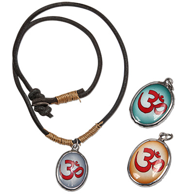 Monster Trendz Enamel OM Pendants from Thailand on Leather Necklace