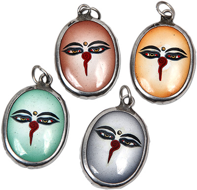 Monster Trendz Enamel Buddha's Eye Pendants from Thailand on Leather Necklace