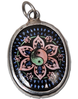 Monster Trendz Enamel Yin Yang Lotus  Pendants from Thailand on Leather Necklace