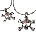 Tropical Rose Crystal Skull and Crossbones Pendant Necklace