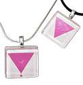 Tropical Rose Pink Triangle Lesbian Symbol Glass Tile  Pendant Necklaces