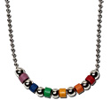 Tropical Rose Rainbow Gay Pride Beaded Ball Chain Necklace