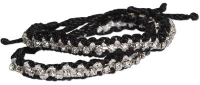 Black and white crystal braided bracelets
