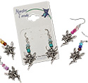 Tropical Rose Pewter Fairy Dangle Earrings