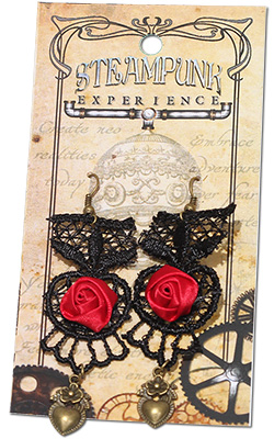 Steampunk Black Lace and Red Satin  Rose Earrings by Tropical Rose