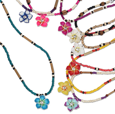 Coco Beaded Fimo Flower Necklace by Monster Trendz
