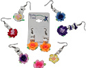 Fimo Flower Earrings with Heishi Shell