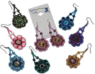 Guatemalan Glass and Crystal Mandala Dangle Earrings by Monster Trendz