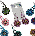 Guatemalan Glass and Crystal Mandala Dangle Earrings by Tropical Rose