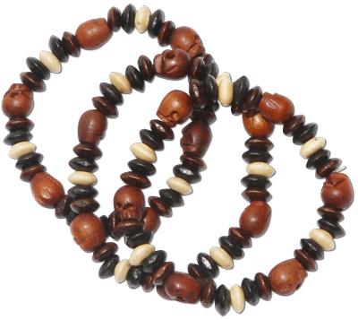 Tibetan Carved Wood Skull Bead Bracelet by Tropical Rose