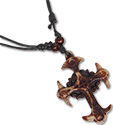 Brown resin cross pendant necklace